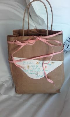 Cute Couple Gift Brown paper bag tied up with string filled with a few of your favorite things DIY Craft Boyfriend gift