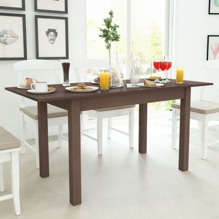 Modern Home Dining Table Rectangular Dark Brown Kitchen Room 2 Sides Extension #ModernHomeDiningTable