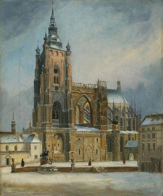 FERDINAND LEPIÉ (1824-1883) Pohled na chrám sv. Víta od jihu z třetího hradního nádvoří v zimě, olej na plátně, 1851