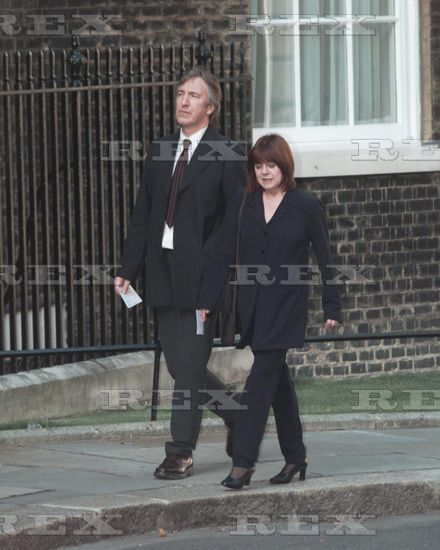 July 29, 1997 - Alan Rickman and Rima Horton attend a party at No. 11 Downing Street in London hosted by Gordon Brown. Copyright © Rex Features