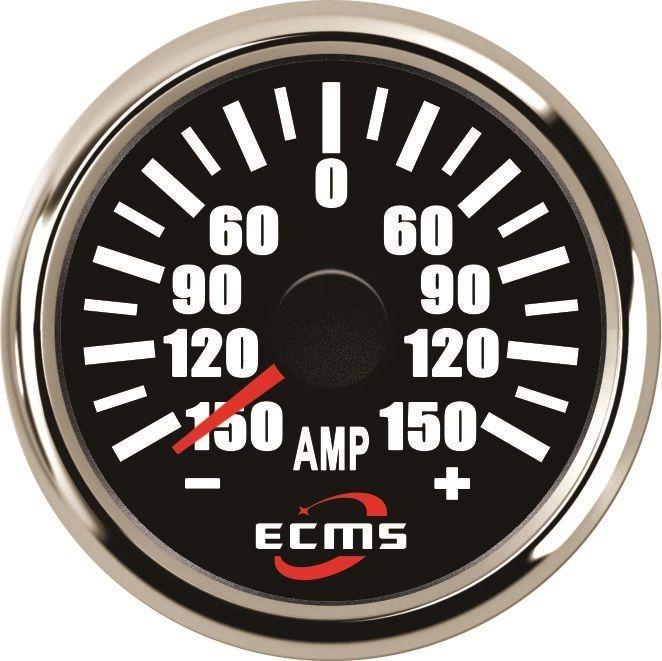 ECMS Marine Car Amperemeter With Current Pick-Up Unit  ±150A 52mm Chrome black