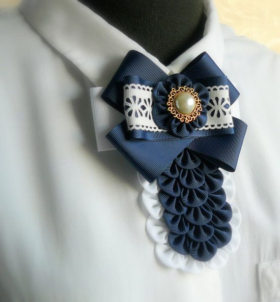 Ladies fabric pin brooch tie. Navy blue and white bow от JuLVa