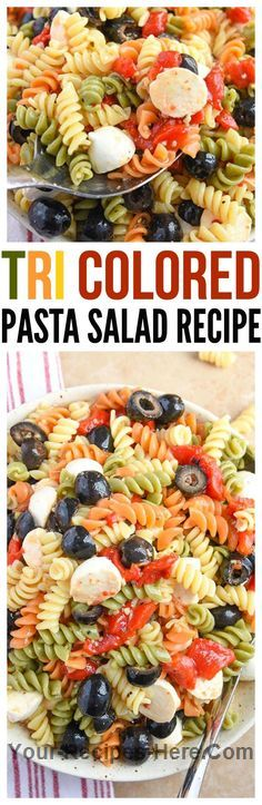 Tri Colored Pasta Salad  Ingredients Vegetarian Condiments 2 cups Italian dressing 2 cups Olives Pasta & Grains 1 16oz box Tri color pasta, cooked Baking & Spices 2 Red peppers, roasted Dairy 8 oz Mozzarella balls  Follow us for more Recipes in our website : http://www.your-recipes-here.com/