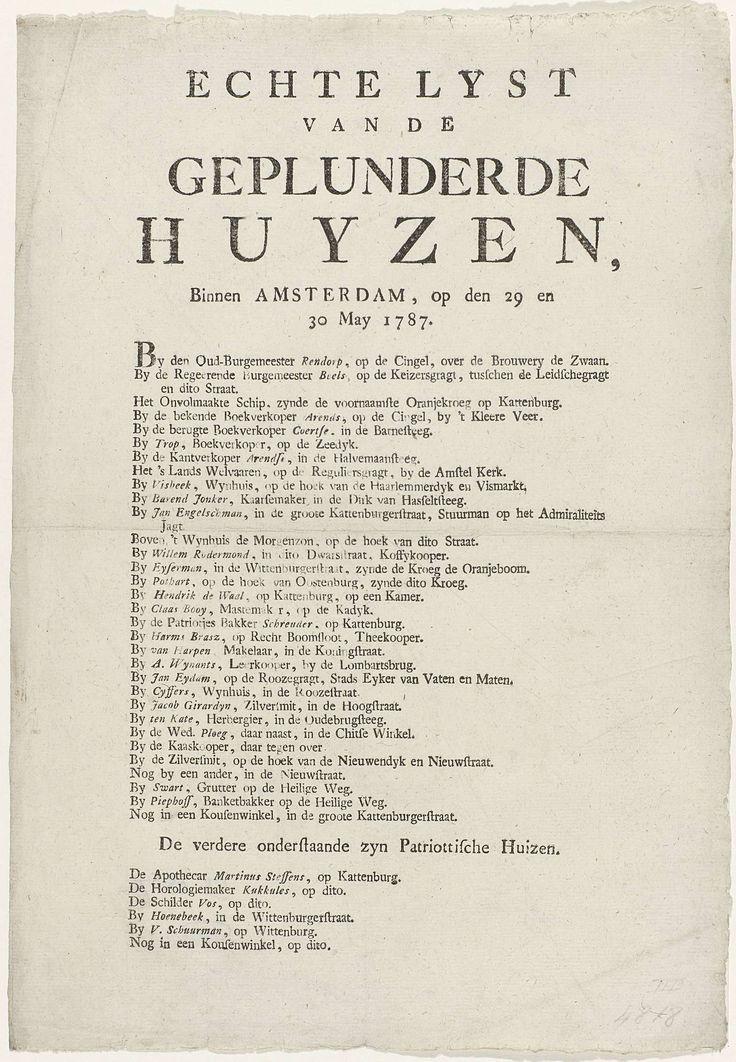 Anonymous | Lijst van de geplunderde huizen in Amsterdam, 1787, Anonymous, 1787 | Gedrukte lijst van de huizen van Orangisten, en enkele Patriotten, in Amsterdam geplunderd op 29 en 30 mei 1787.