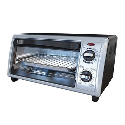 Black & Decker 4-Slice Stainless Steel Toaster Oven with Bake Pan