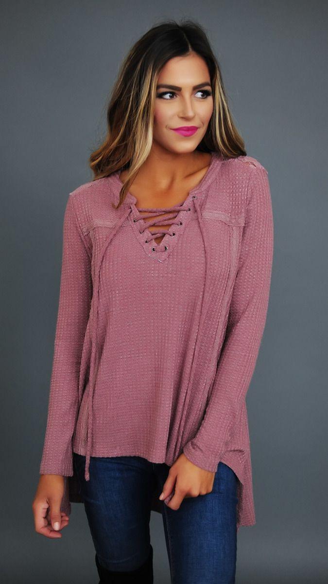 Dusty Mauve Waffle Knit Lace Detail Top - Dottie Couture Boutique