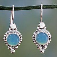 Chalcedony dangle earrings, 'Ocean Sky' - Classic India Jewelry Silver Earrings with Chalcedony