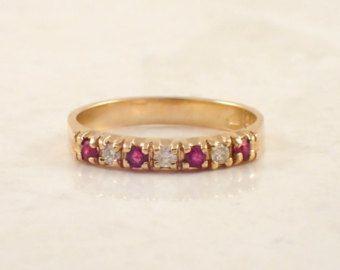 Antiguo rubí diamante boda Band banda de oro de por BullionDiamond