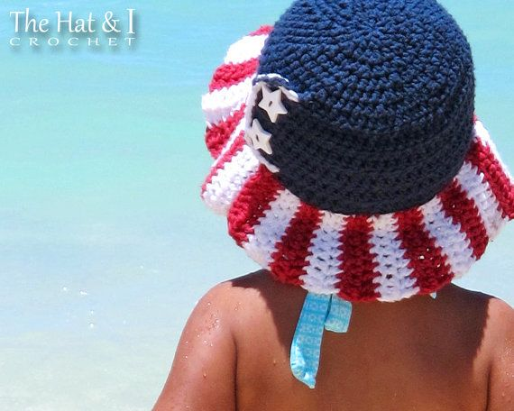 CROCHET PATTERN Stars & Stripes American flag hat by TheHatandI