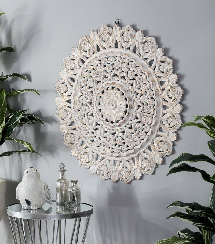 Pine Wall Decor Carved Wood Art, Round White Wood Wall Decor
