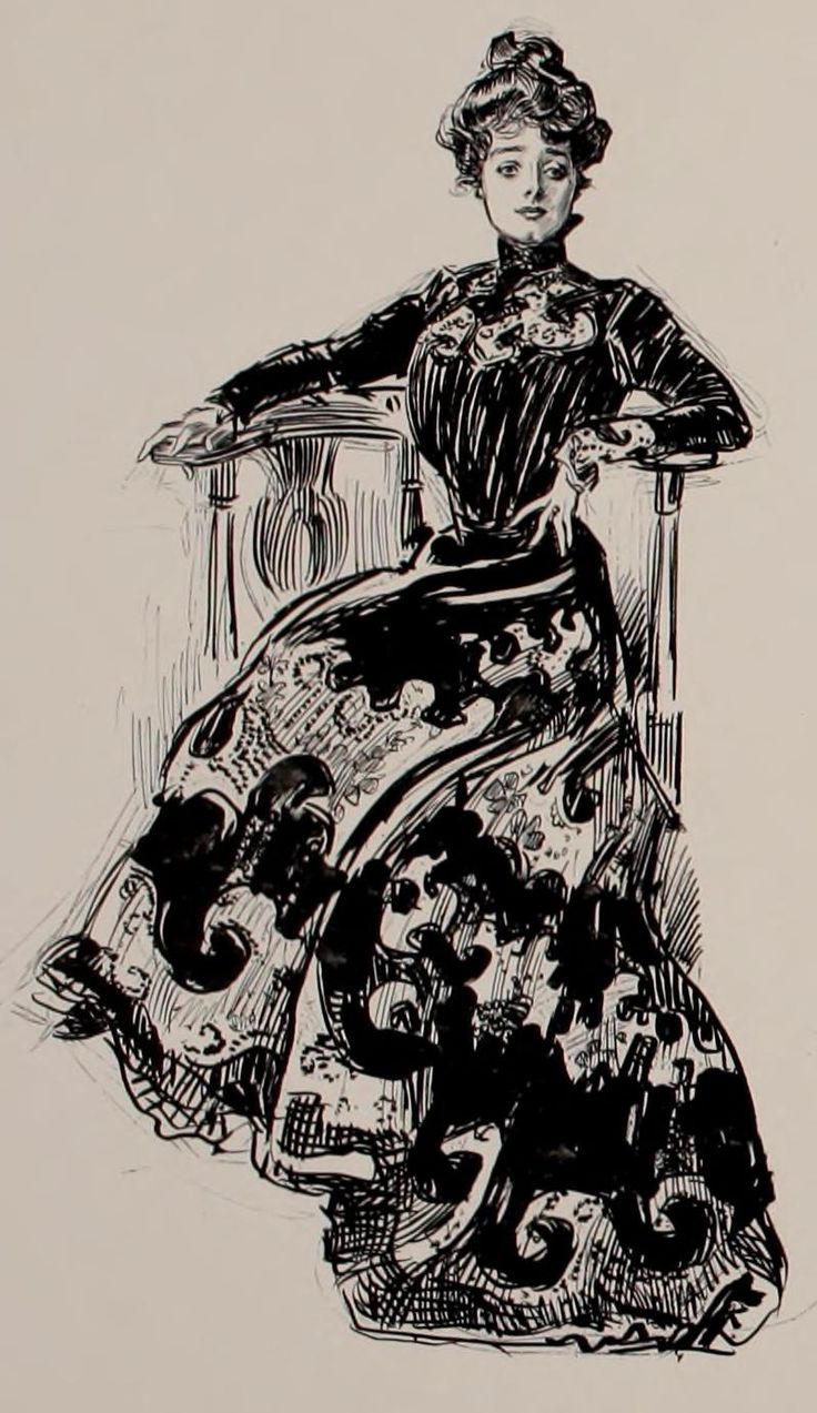 "Gibson Girl, 'The Social Ladder',1902 // by Charles Dana Gibson. ""Gibson's Girl neck was thin and her hair piled high upon her head in the contemporary bouffant, pompadour, and chignon (""waterfall of curls"") fashions. The statuesque, narrow-waisted ideal feminine figure was portrayed as being at ease and stylish."" (From Wikipedia)"
