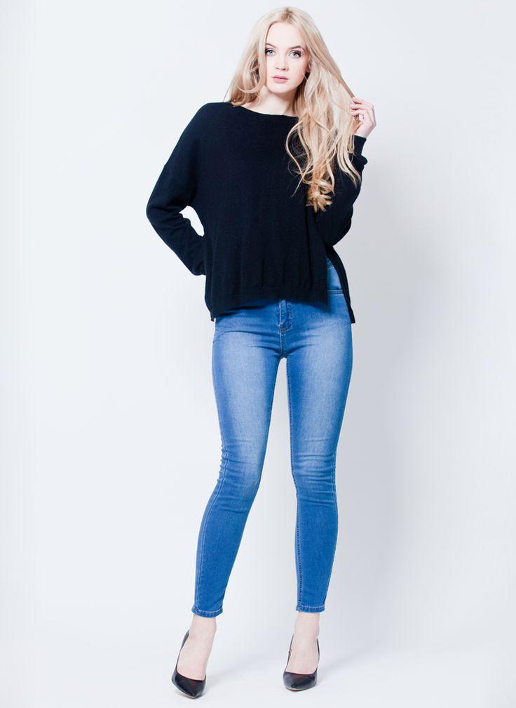 SWETER Z ROZCIĘCIAMI ANGORA CZARNY I SWEATER BLACK I  MONASHE.PL - Sklep online z modną odzieżą. Bluzki, sukienki, torebki, obuwie, akcesoria.
