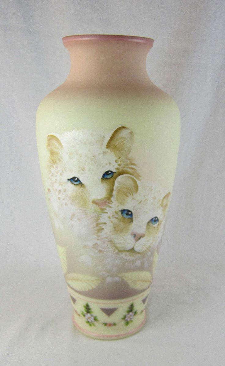 648 best fenton art glass vases epergnes images on pinterest fenton ooak snow leopards burmese vase jk spindler sold on ebay for 65500 reviewsmspy