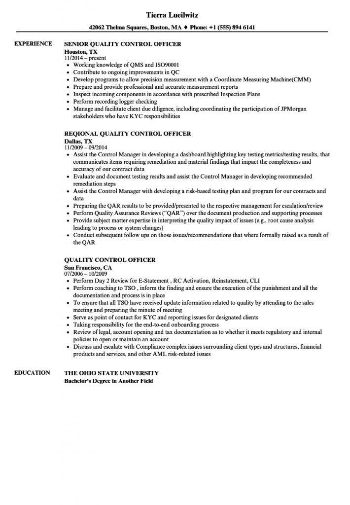 Resume Format Quality Control 2021 Resume Format Standard Cv Format Resume
