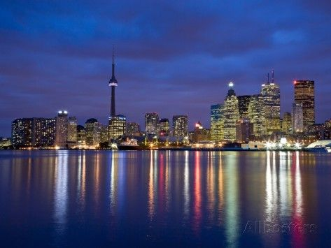 View of Toronto Skyline at Night from 'The Docks', Toronto, Ontario, Canada. Photographic Print by Henry Georgi at AllPosters.com