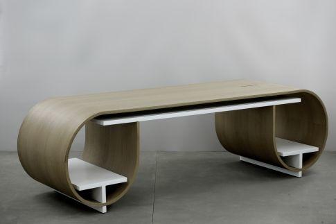 Grand bureau design avec tablette coulissante bois archi for Bureau ps 13