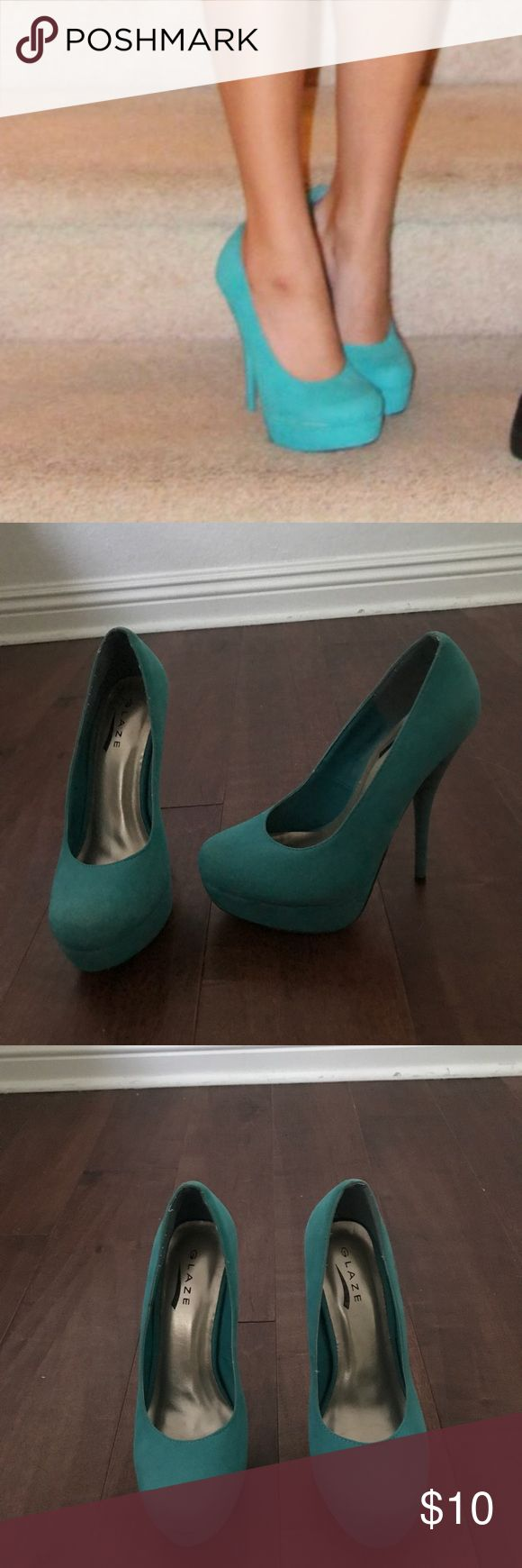 Teal high heels Only wore these once but there is sign of wear (on bottom and pictured) super cute for homecoming. I️ wanna say the heel is around 4 1/2 inches. Shoes Heels