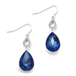 Royal Blue Crystal Teardrops Wire Earrings