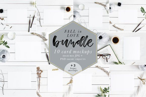 Fall In Love Bundle Mockups + Bonus by Gabriela Dantur on @creativemarket  The Fall In Love Bundle features 10 card mockups in A5 and 5x7 sizes. Perfect to display your artwork, calligraphy or lettering piece on many platforms, such as your website, blog, online store, Instagram, Facebook, etc.