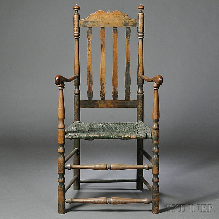 Birch and Maple Bannister-back Armchair   Sale Number 2753T, Lot Number 1007   Skinner Auctioneers