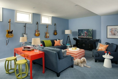Beautiful basement. I can't figure out what to do with ours with the three sofas. This looks so comfy and inviting.