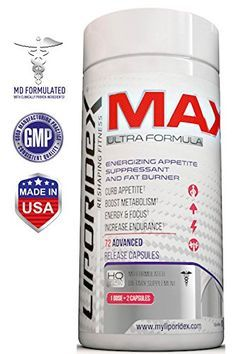 Liporidex MAX2 Weight Loss Supplement  Ultra Formula Thermogenic Fat Burner Metabolism Booster  Appetite Suppressant  The easy way to lose weight fast and increase energy  72 diet pills >>> Check out this great product.  This link participates in Amazon S