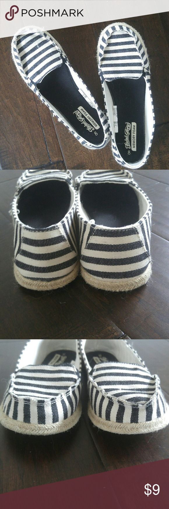 Striped Blue and White Espadrille Flats Faded Glory. Memory foam cushion. Wore once, but too big on me. Comfy. Like new! Faded Glory Shoes