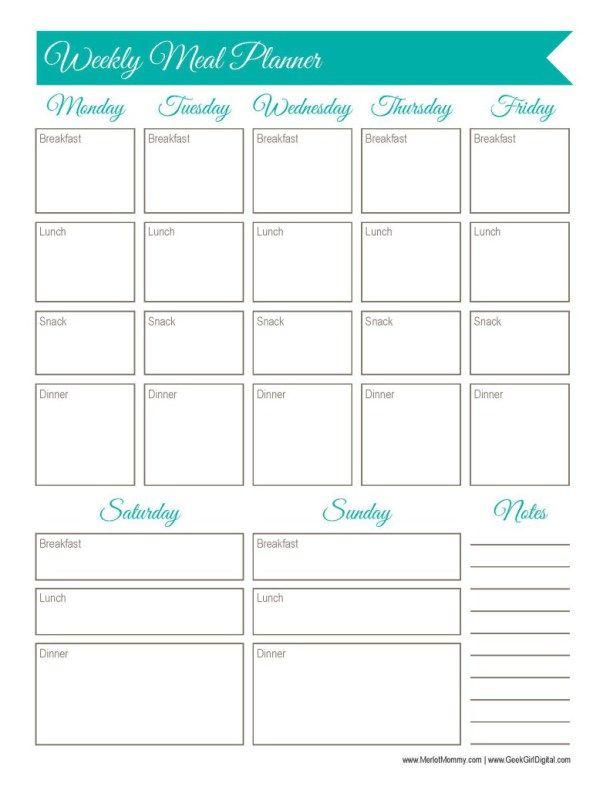 Weekly Meal Planner Worksheet: 30 days of free printables from MerlotMommy.com and GeekGirlDigital.com