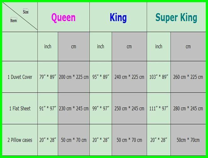 King Size Flat Sheet Dimensions