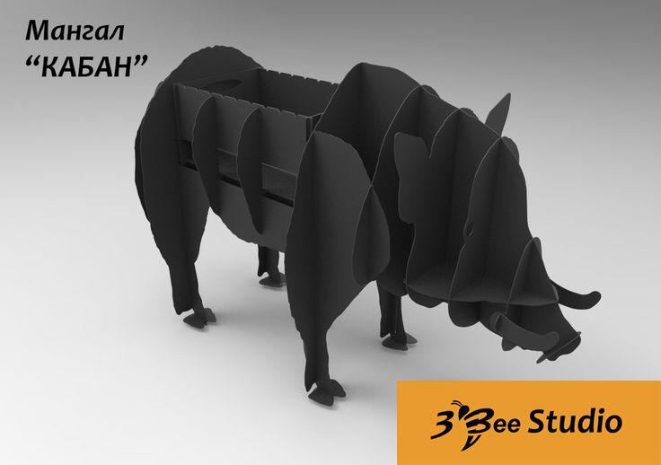 Чертёж раскроя Кабан мангал CNC drawing Boar BBQ dxf plan