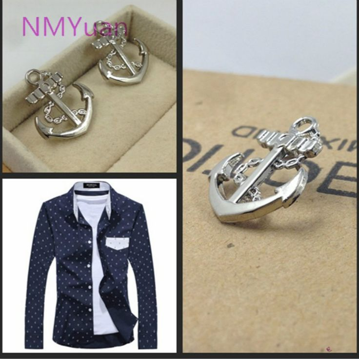 Korean version of the trend of small metal anchor collar pin / brooch wholesale navy style men's suits small brooch