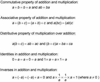 Algebraic Properties You Should Know    You can use a number of properties when working with linear algebraic expressions, including the commutative, associative, and distributive properties of addition and multiplication, as well as identities and inverses in addition and multiplication:
