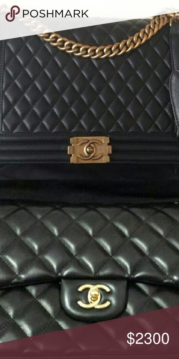 2 boy and classic flap chanel bag black lambskin Bags stored in box. Comes with box and full set of papers, serial number card,care card etc. If tou interesting email me fo more photo CHANEL Bags Shoulder Bags