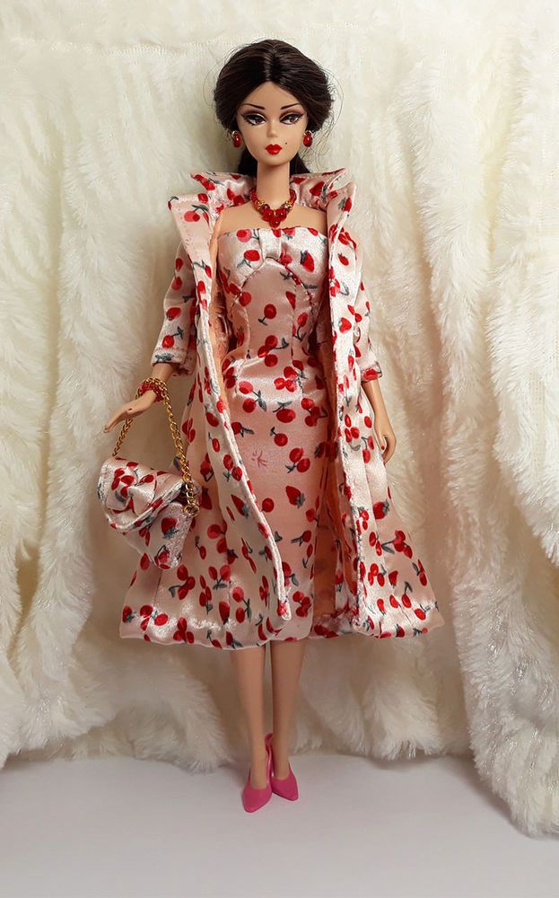b333a3648647 Handmade Cherry Strawberry Outfit Dress & Coat Bag Jewelry Barbie Silkstone  Doll #Sitar_Large_Super_Rich