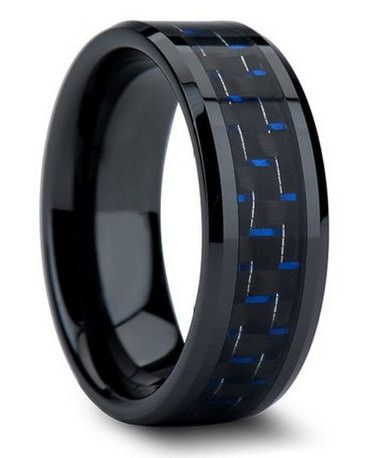 Blue Carbon Fiber Rings crafted out of tungsten. SALE $84.94