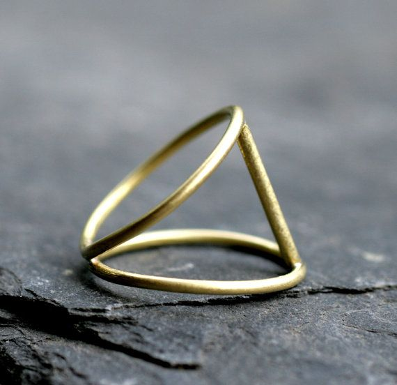 modern ring gold bar minimalist satin brass sterling by museglass