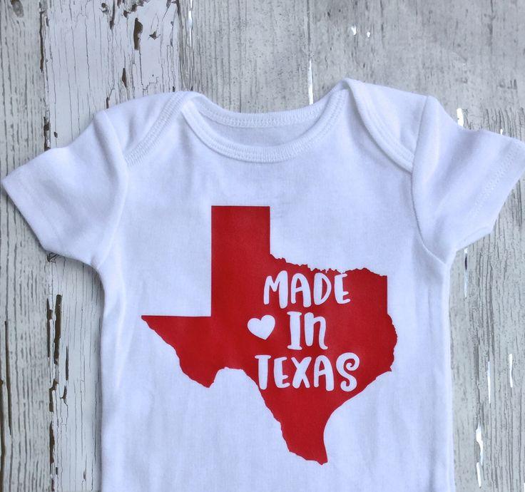 Made in Texas/ Gender Neutral/Baby Shower Gift/ Baby Announcement/Baby Boy Onesie/ baby girl Onesie/ Texas baby/ by sunnyvilledesigns on Etsy https://www.etsy.com/listing/534753639/made-in-texas-gender-neutralbaby-shower