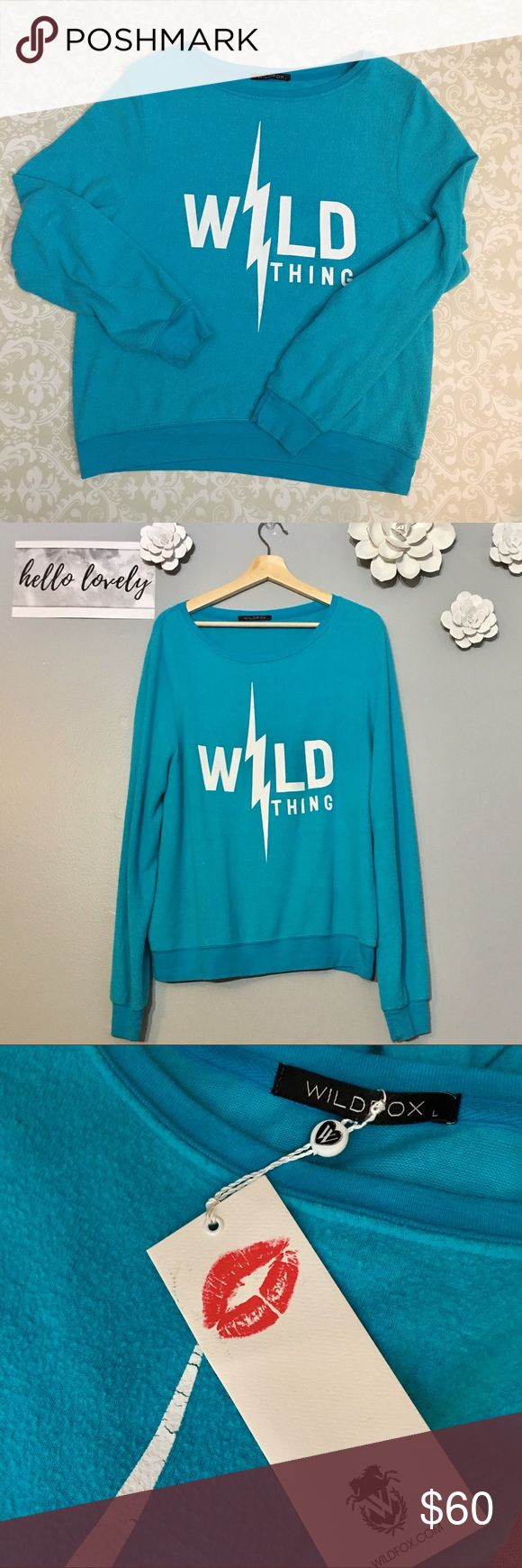 """💥⚡️Wildfox Wild Thing Baggy Beach Jumper! SZ L Like New Wildfox Wild Thing Baggy Beach Jumper! Fun Turquoise color, super soft! Worn twice. Usual Wildfox piling which is standard for this style and the extra long sleeves. 26"""" length in front. No rips, stains or tears. Non smoking home. Wildfox Tops Sweatshirts & Hoodies"""