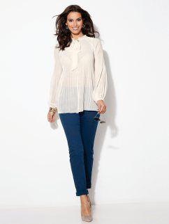 Pantalón largo de tiro alto 5 bolsillos mujer en algodón elástico