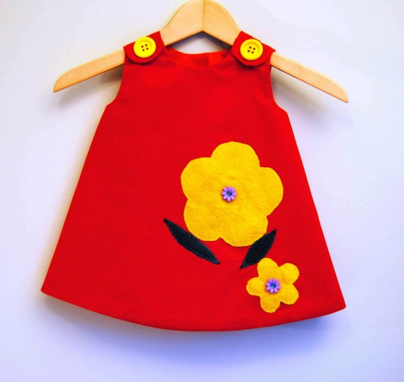 Girl Dress  Gorgeous Red with Yellow Flowers  by KKchildrendesigns, $42.00: 3 Months, Yellow Flowers, Dresses Patterns Girls, Infants Dresses, Girls Dresses, Dress Patterns Girls, Girls Clothing, Gorgeous Red, Dresses Gorgeous