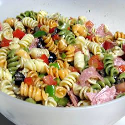 Antipasto Pasta Salad- 1lb seashell pasta, Genoa salami, pepperoni, cheese, olives, bell peppers, tomatoes, 1 (.7oz) pkg dry Italian dressing mix, 3/4c evoo,  1/4c balsamic vinegar -i love balsamic