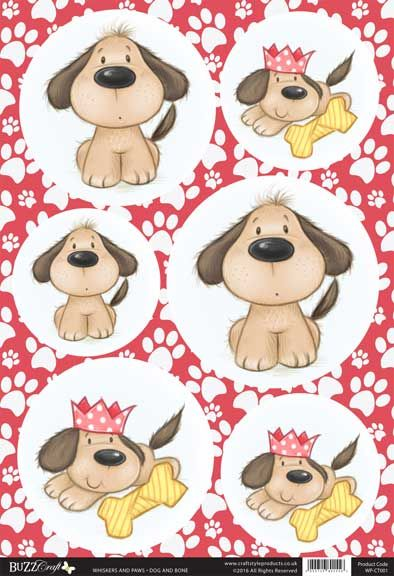 Buzzcraft Whiskers and Paws die cut toppers - Dog and Bone