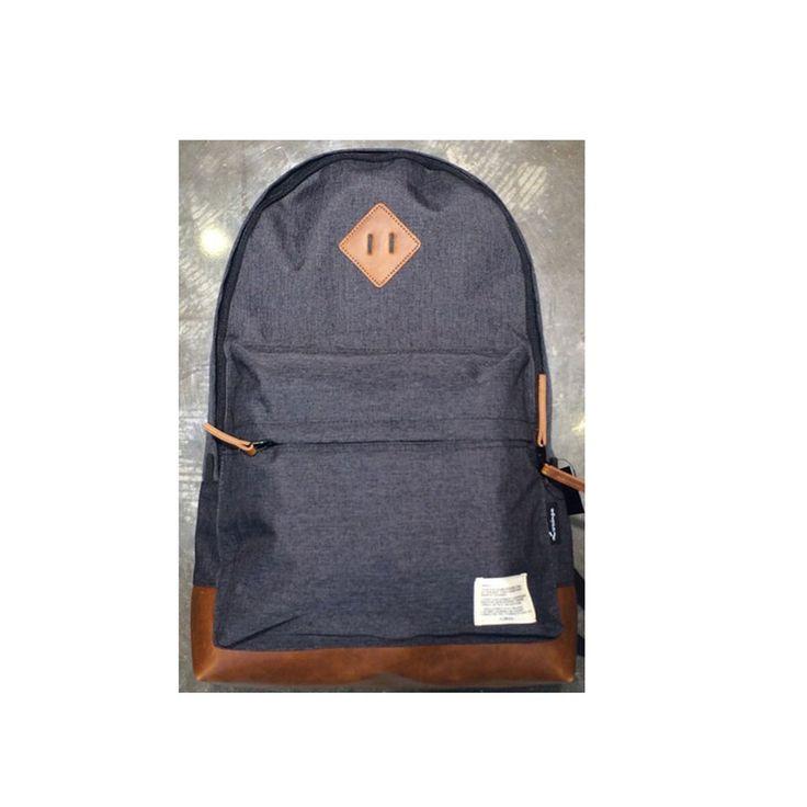 Korea Casual Button Backpack School Travel Outdoor Shoulder Bag Dark Gray Men