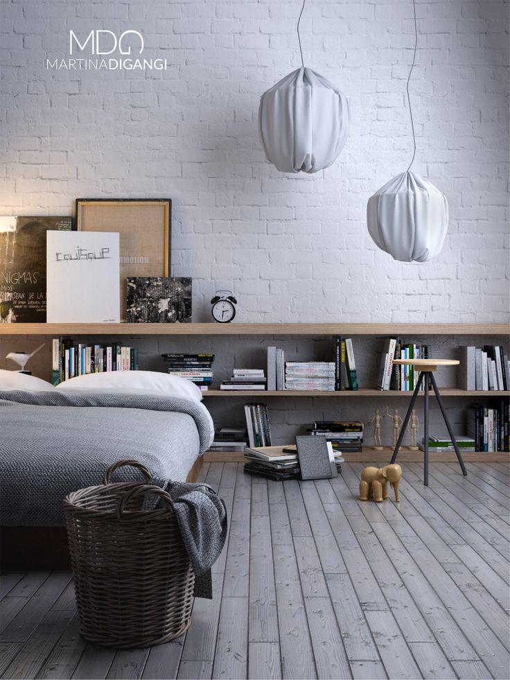 #interior #bedroom #daytlight #bed #books - Rendering: Cinema 4D + Vray  Post-produzione: Photoshop