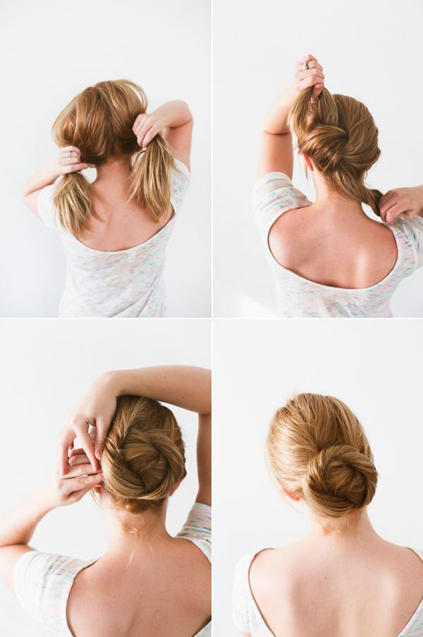 DIY Twisted Bun Hair Tutorial via http://oncewed.com