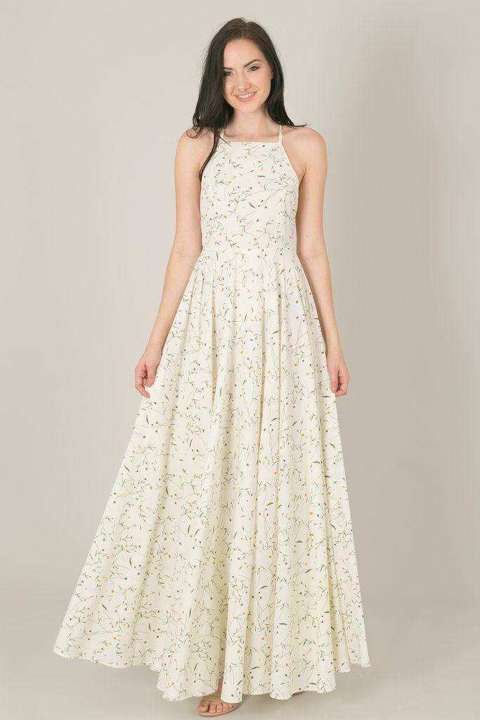 4f778f420f1 Payton Ivory Yellow Floral Flowy Maxi Dress