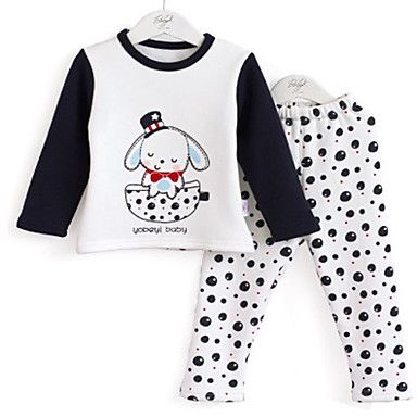 children's pattern of dogs cashmere thick thermal Clothing Sets