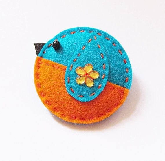 Felt Brooch KELLY The Little Kingfisher Accessory by CherryPips