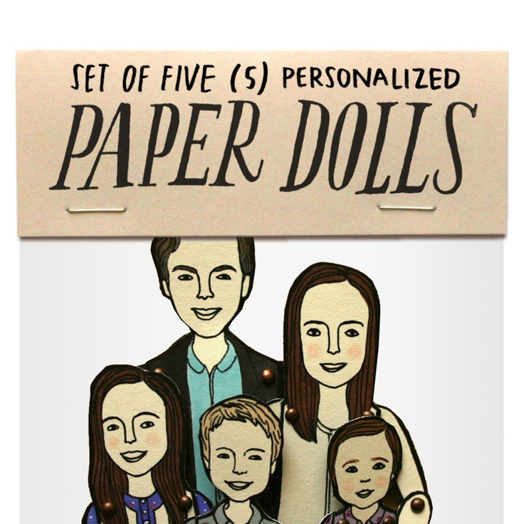 SET OF FIVE personalized paper dolls. $150,00, via Etsy.