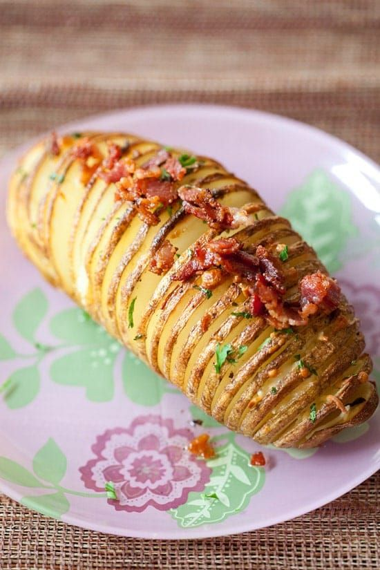 Hasselback Potatoes with bacon & parmesan. Easy hasselback potatoes at its best. Sinfully delicious but quick and super easy to make | rasamalaysia.com